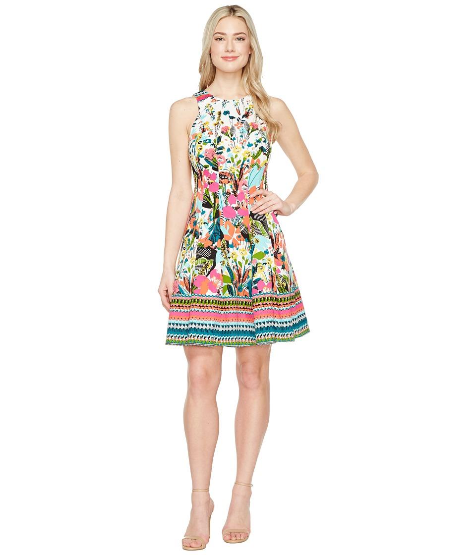 Maggy London Fiesta Flower Fit Flare Dress (Cream/Violet/Capri) Women