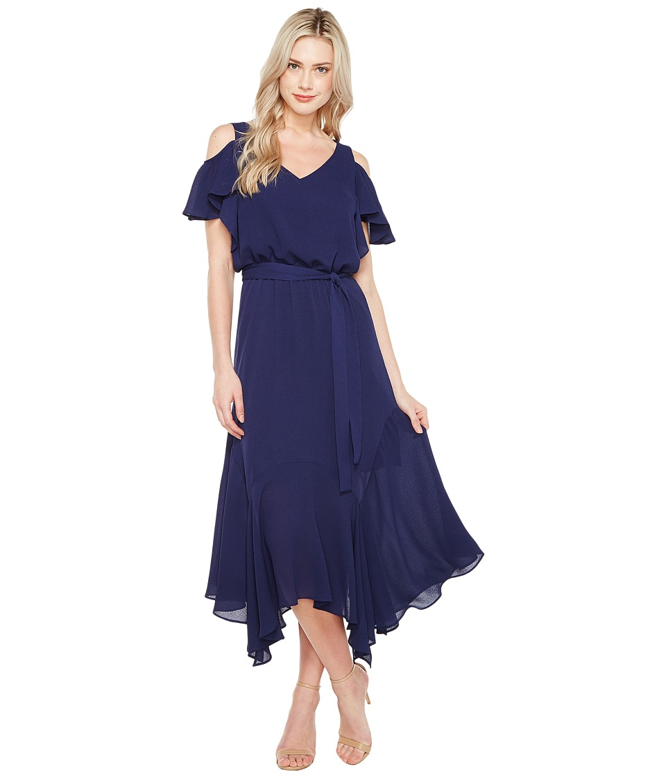 Maggy London - Cold-Shoulder Blouson Dress (Dark Navy) Women's Dress