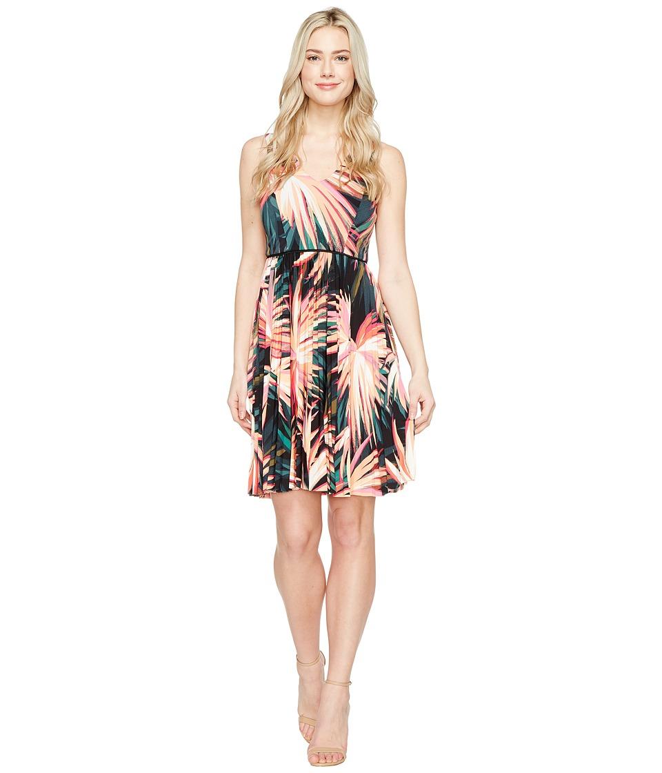 Maggy London Techno Palm Jersey Pleated Fit Flare Dress (Soft White/Orange) Women