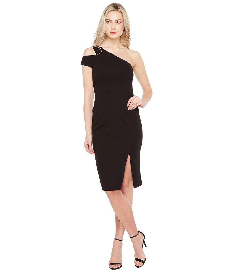 Maggy London Crepe Scuba One Shoulder Dress (Black) Women
