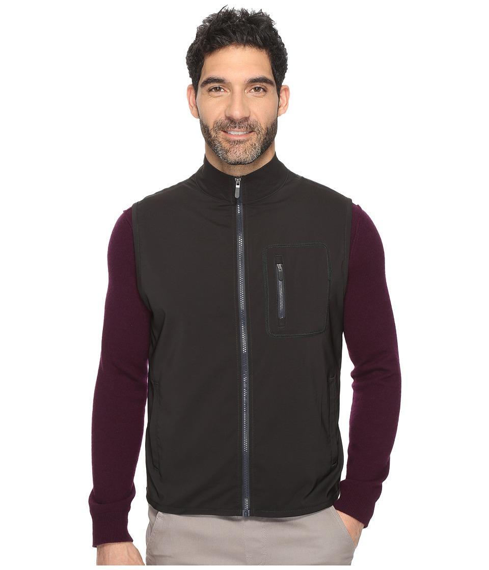Kenneth Cole Sportswear - Dobby Zip Vest (Black) Men's Vest