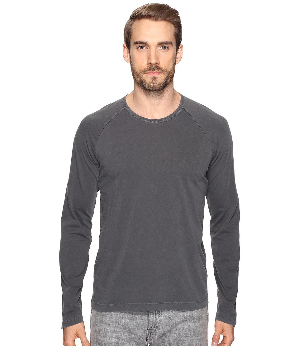 Splendid Mills - Long Sleeve Pigment Dye Crew (Charcoal) Men's Clothing