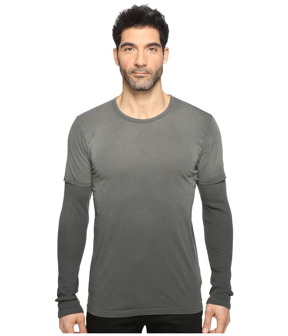 Splendid Mills - Sandstone Long Sleeve Tofer Crew (Lead) Men's Clothing