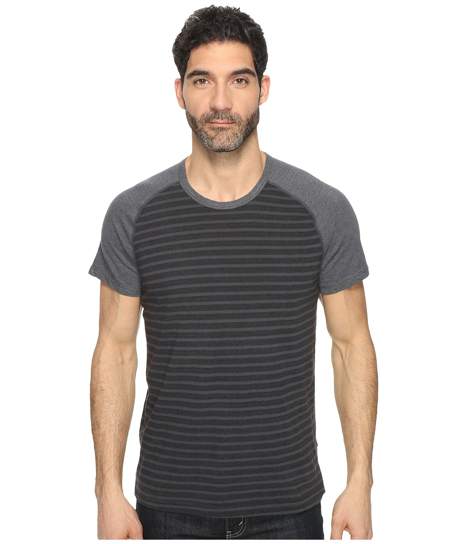 Splendid Mills - Short Sleeve Stripe Crew (Coal) Men's Clothing