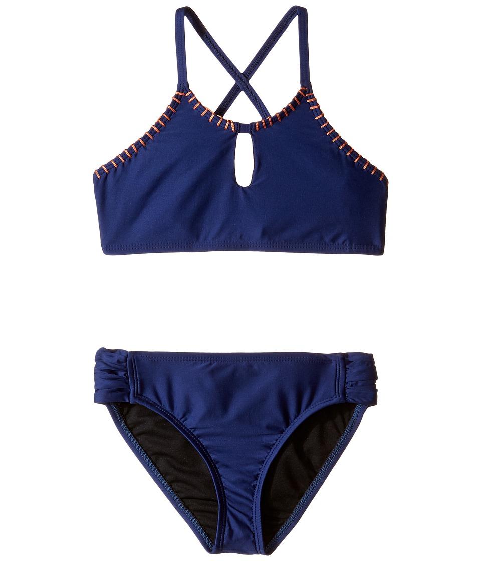 Splendid Littles - Chambray Cottage High Neck Bra Tab Side Pants (Big Kids) (Navy) Girl's Swimwear Sets