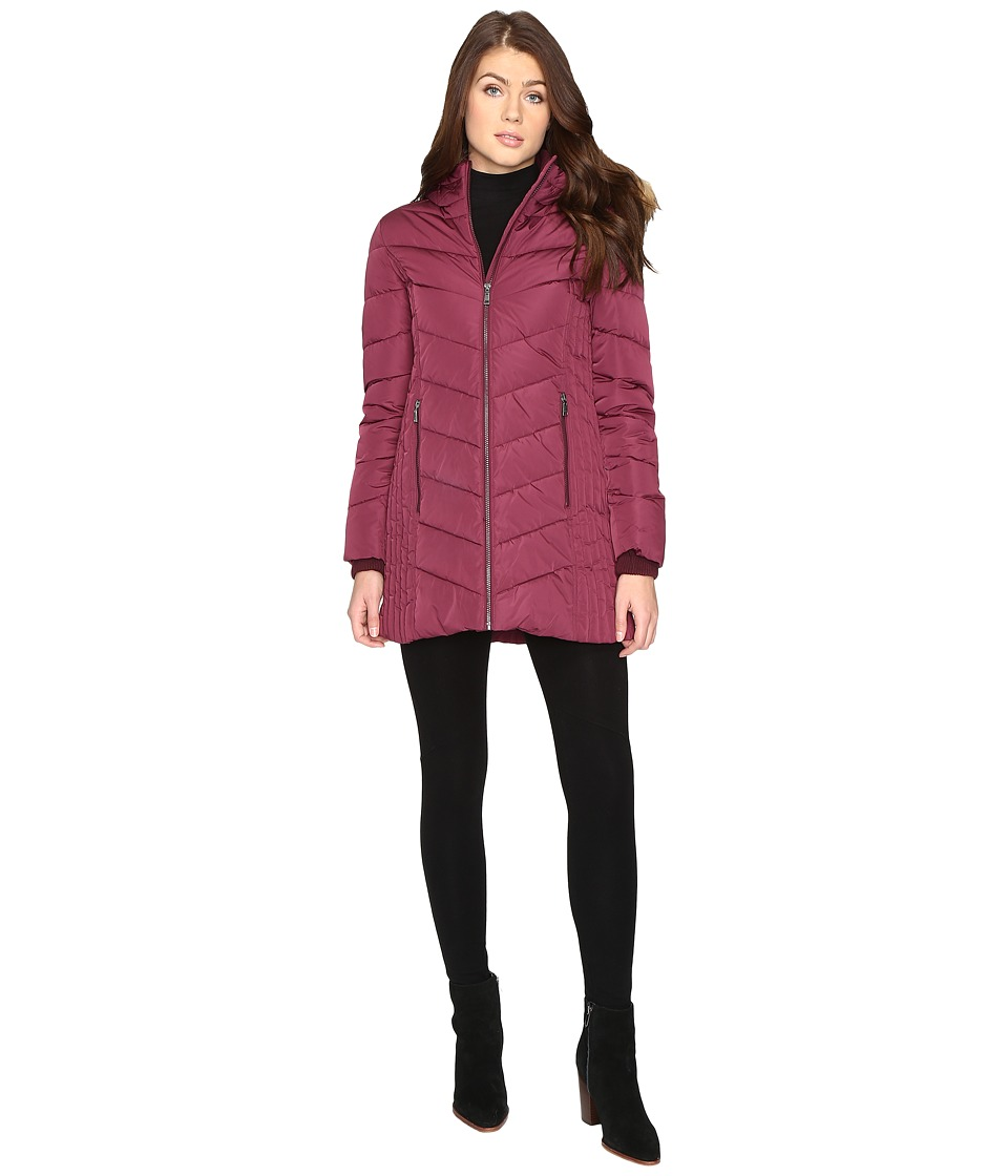 Tommy Hilfiger - Chevron Quilted Coat with Faux Fur Collar (Crushed Violet) Women's Coat