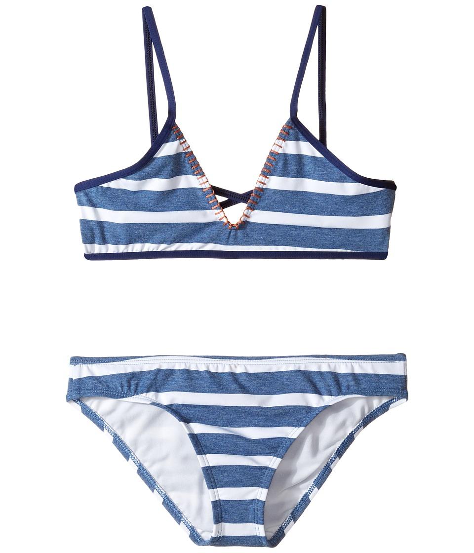 Splendid Littles - Chambray Cottage Bralette Retro Pants (Big Kids) (Blue) Girl's Swimwear Sets