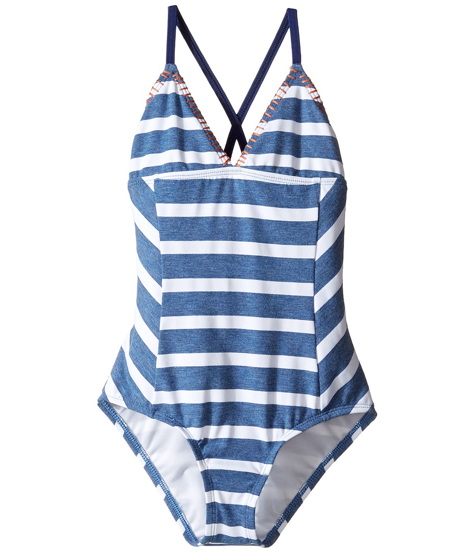 Splendid Littles - Chambray Cottage One-Piece (Big Kids) (Blue) Girl's Swimsuits One Piece
