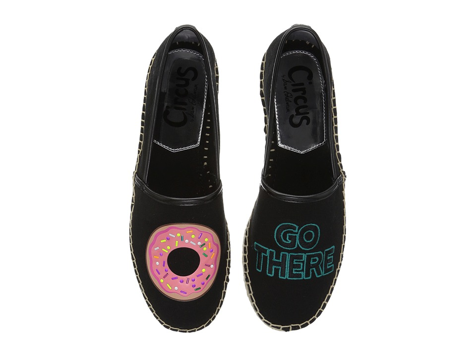 Circus by Sam Edelman - Leni 14 (Black (Donut Go There) Canvas) Women's Slip on Shoes