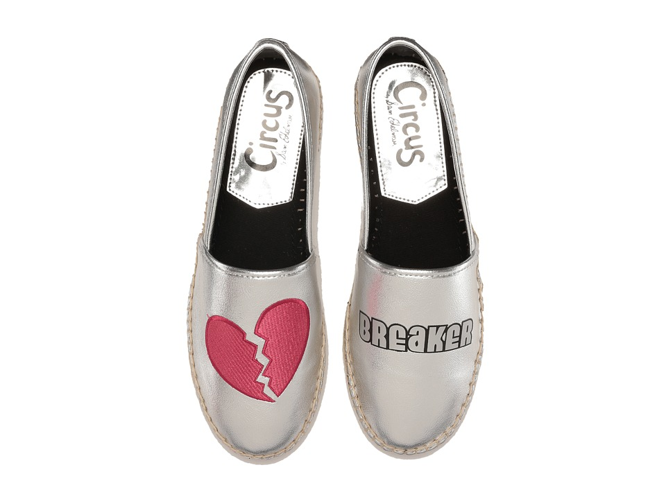 Circus by Sam Edelman Leni 16 Soft Silver Heart Breaker Glitter Womens Slip on  Shoes