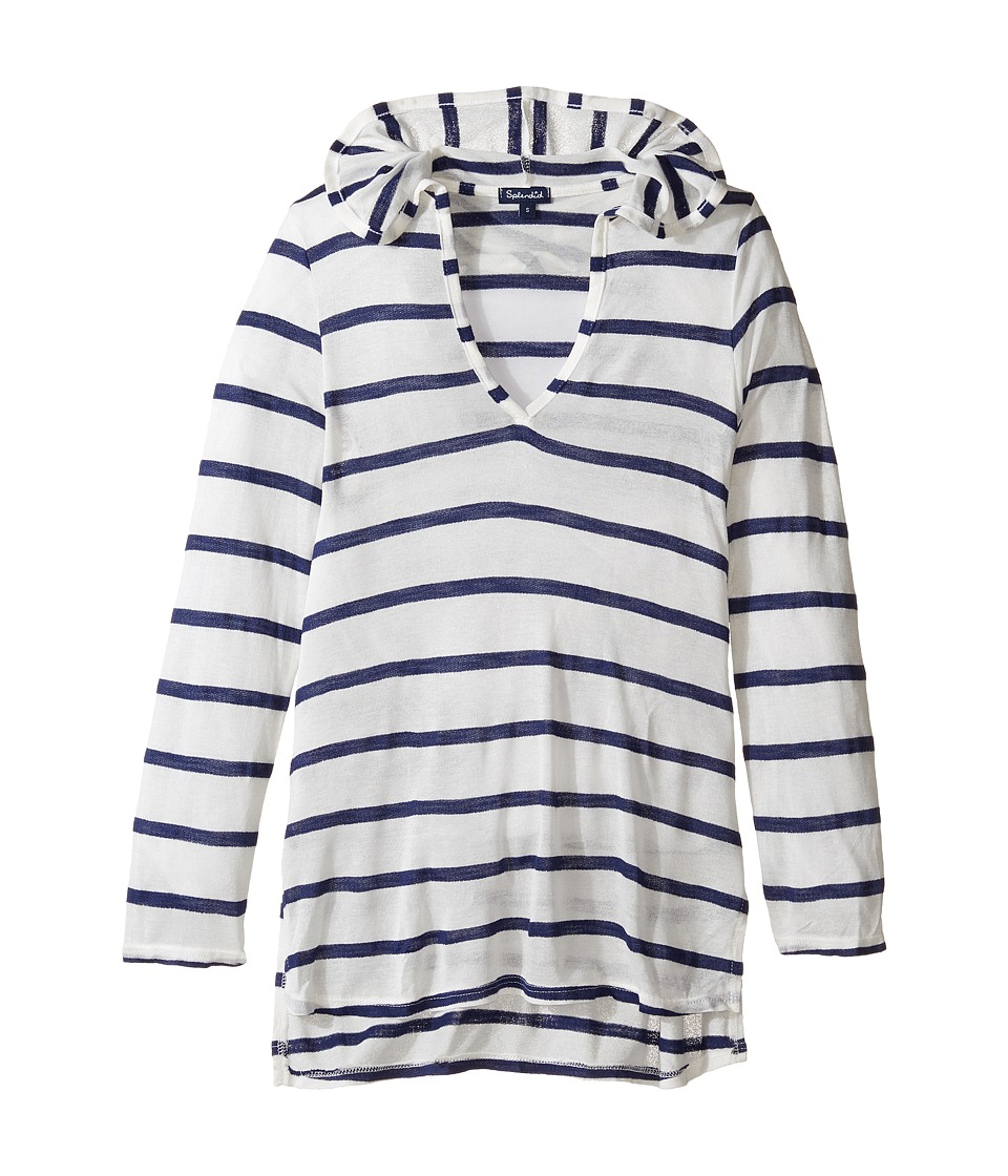 Splendid Littles - Stitch Hoodie Tunic Cover-Up (Big Kids) (Navy) Girl's Swimwear