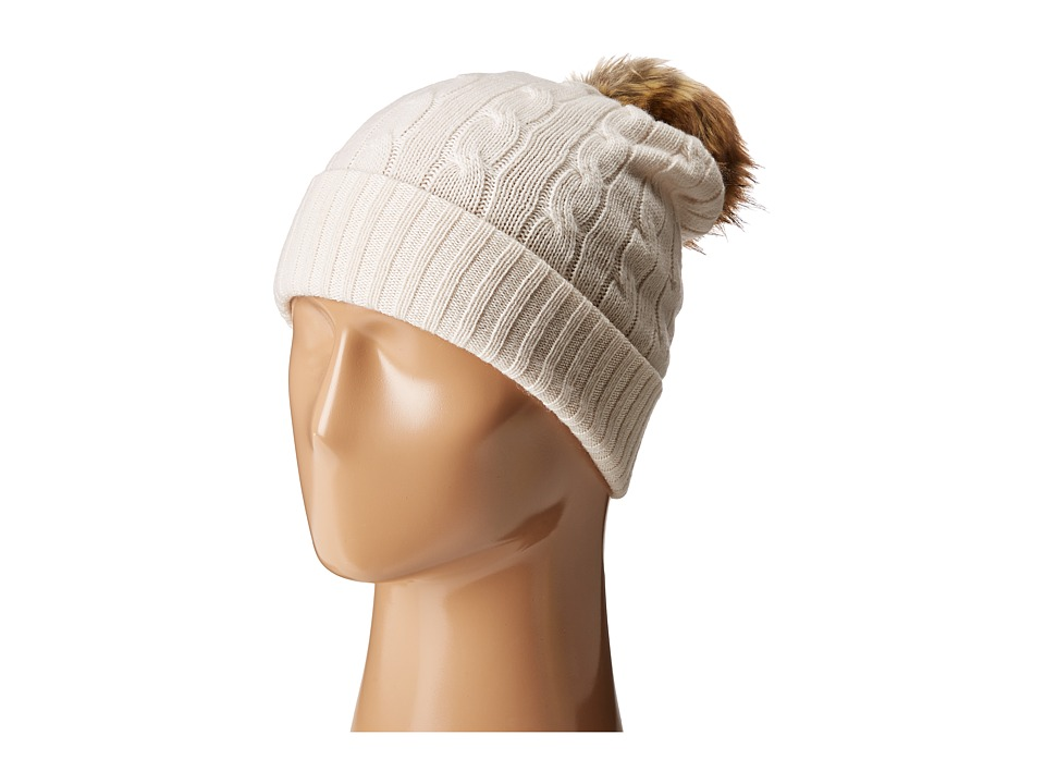 Polo Ralph Lauren - Cashmere Classic Cuff Hat with Faux Fur Pom (Heritage Cream) Caps