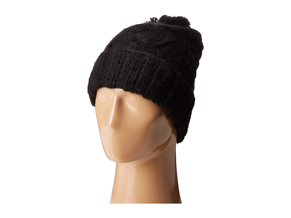 Polo Ralph Lauren - Chunky Aran Cuff Hat with Pom (Polo Black) Caps