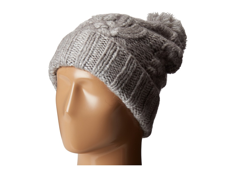 Polo Ralph Lauren - Chunky Aran Cuff Hat with Pom (Fawn Grey Heather) Caps