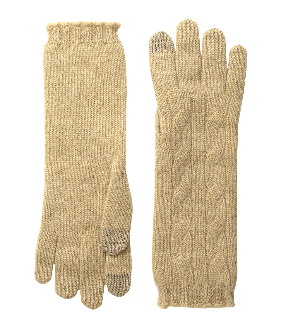 Polo Ralph Lauren - Cashmere Cable Touch Gloves (Camel Melange) Extreme Cold Weather Gloves