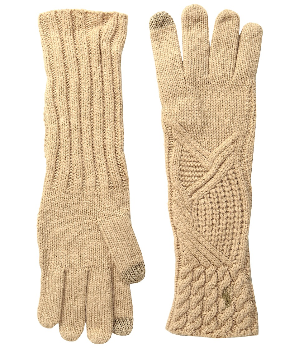 Polo Ralph Lauren - Abstract Traveling Cable Gloves (Camel Melange) Extreme Cold Weather Gloves