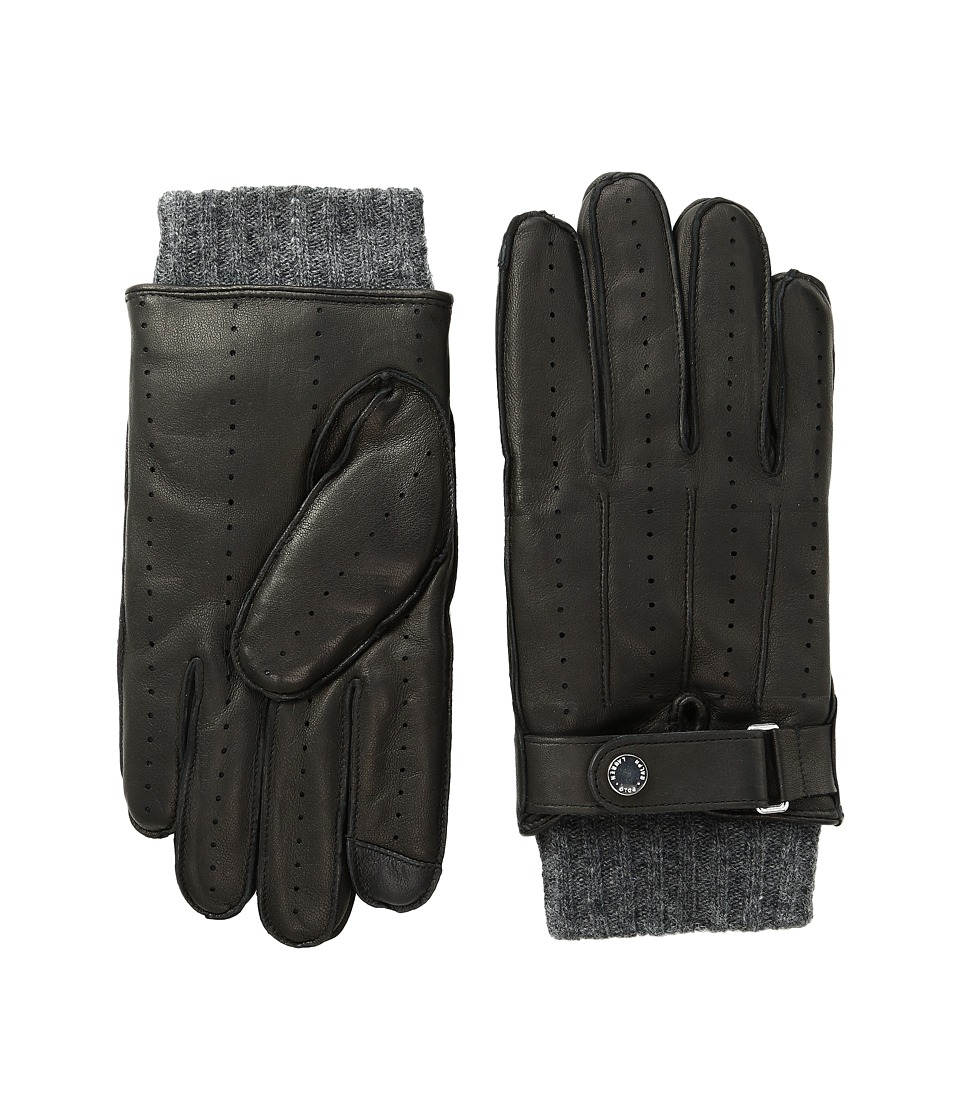 Polo Ralph Lauren - Perforated Racing Touch Gloves (Black/Charcoal) Extreme Cold Weather Gloves