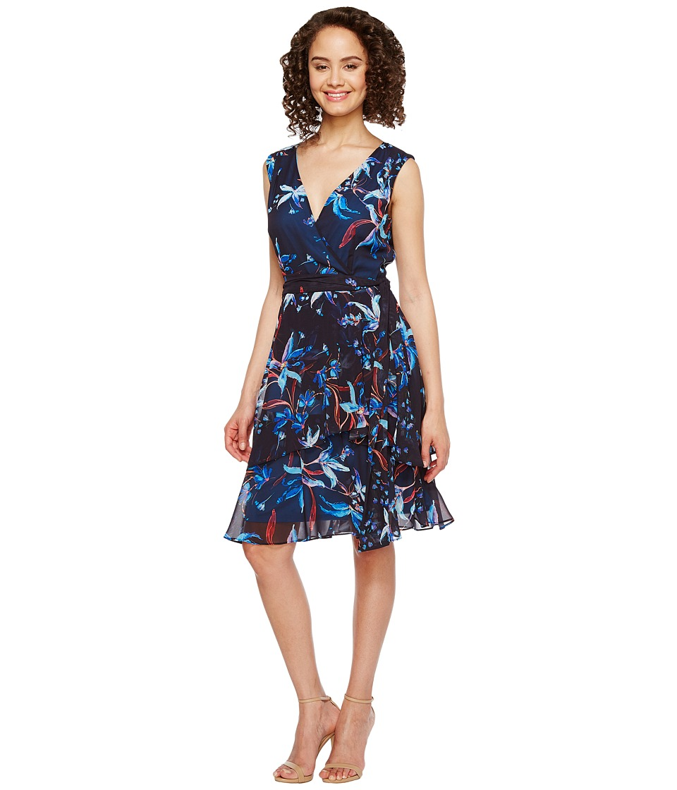 Tahari by ASL - Floral Printed Chiffon Dress (Navy/Turquoise/Flame) Women's Dress