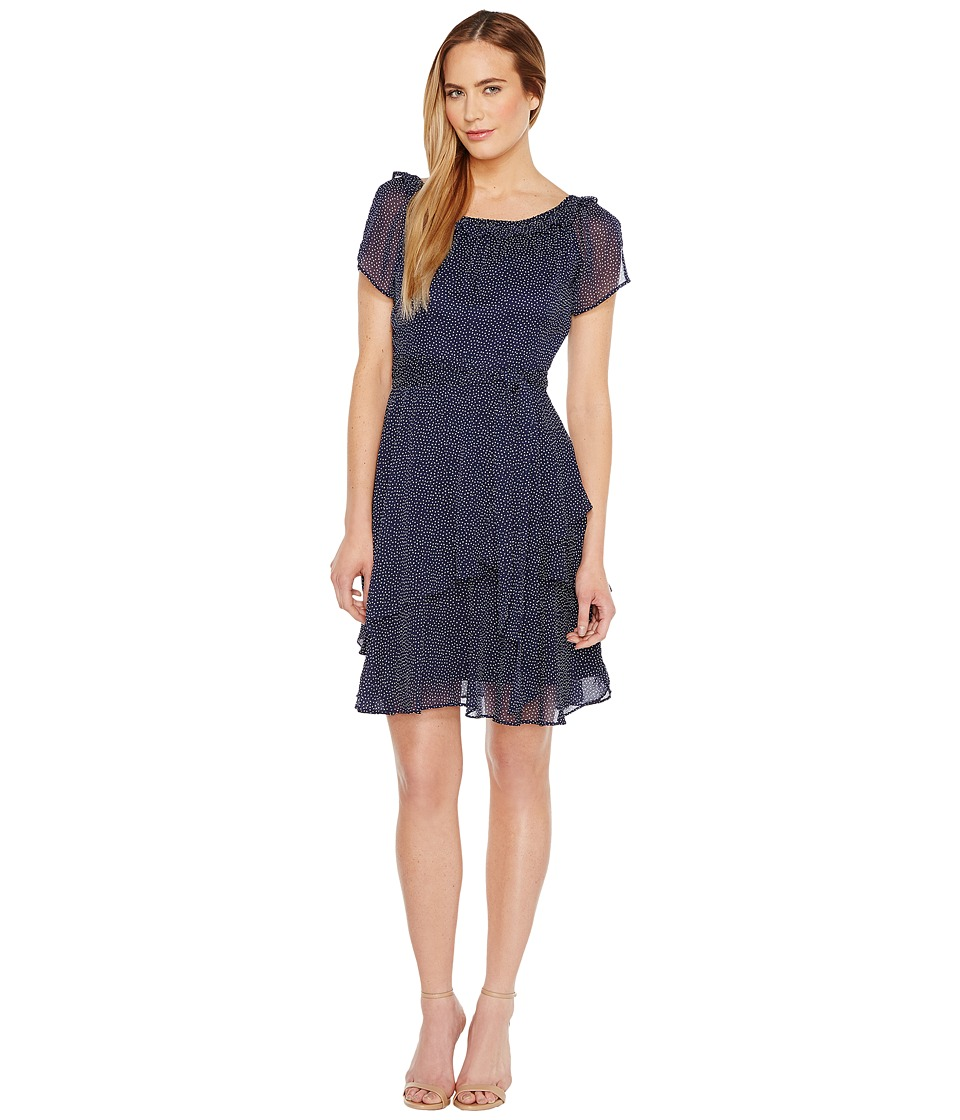 Tahari by ASL - Pindot Chiffon Dress (Navy/White) Women's Dress