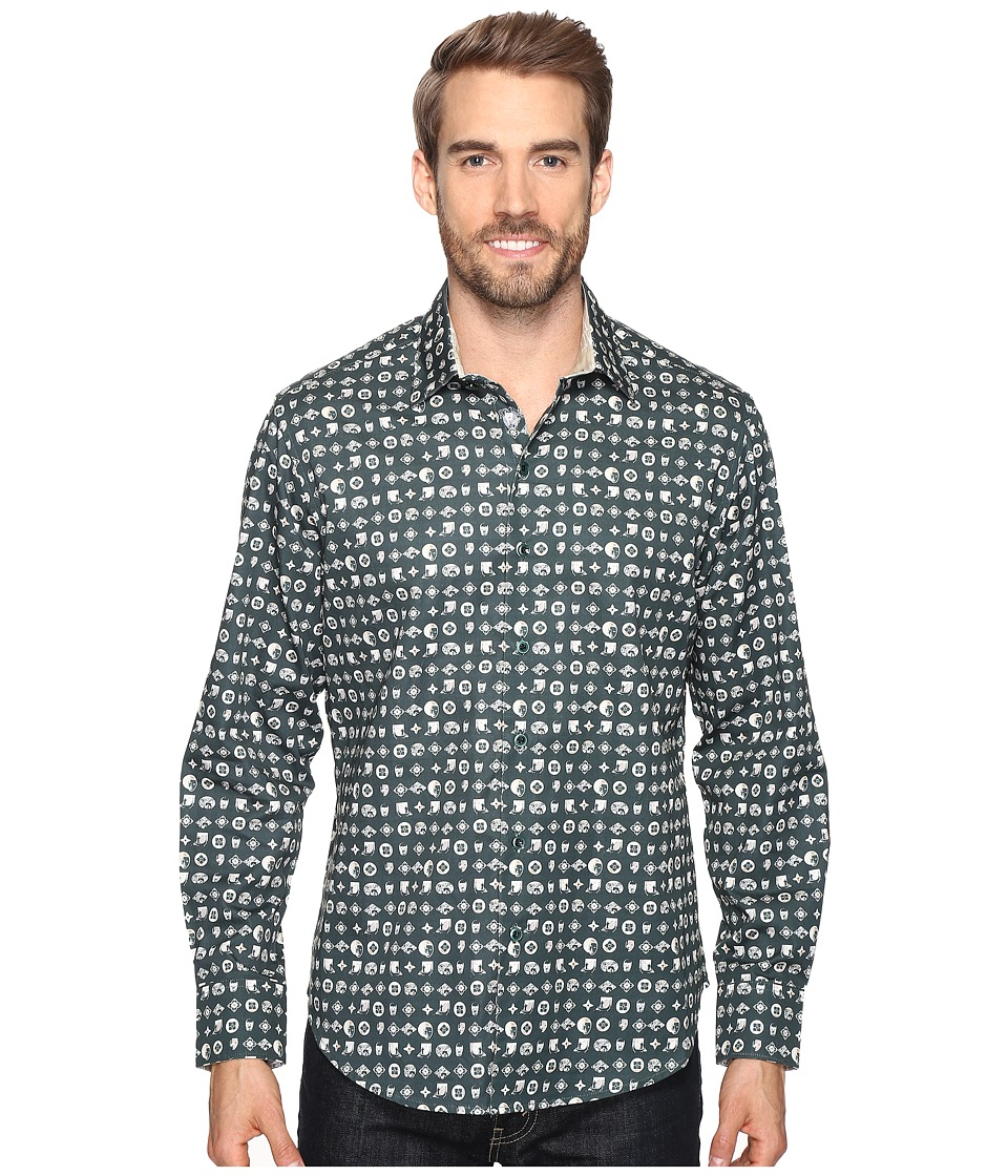 Robert Graham - City of Masks Long Sleeve Woven Shirt (Forest) Men's Clothing
