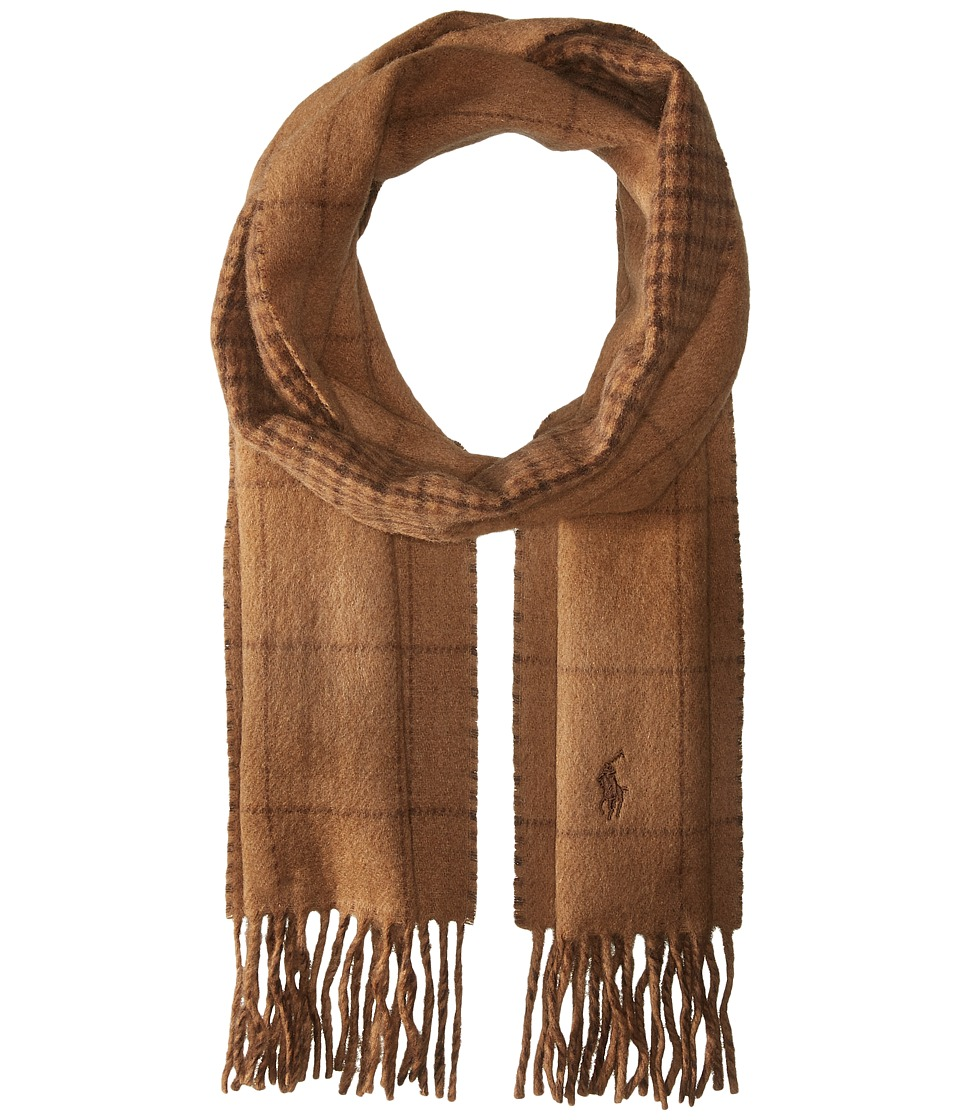 Polo Ralph Lauren - Reversible Windowpane Scarf (Rye Brown Heather) Scarves