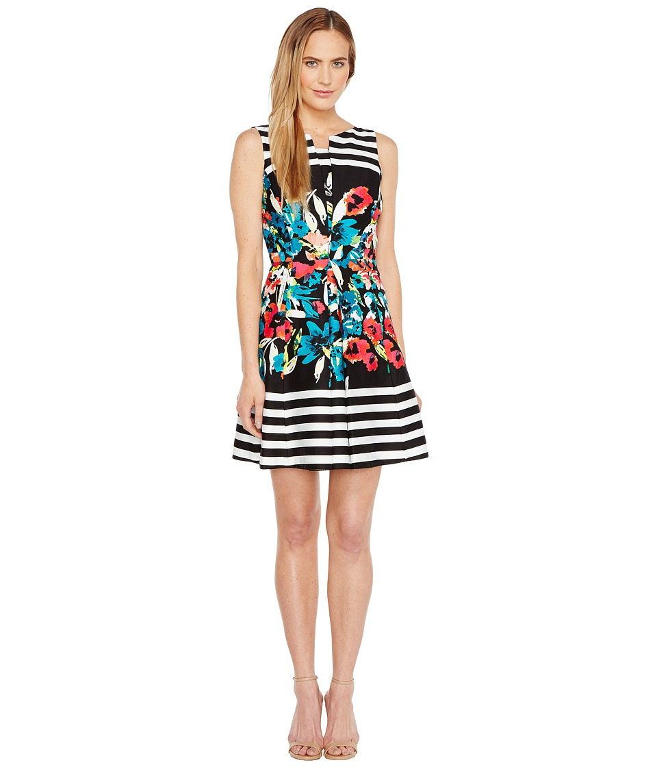 Tahari by ASL - Floral Stripe Fit and Flare Dress (Black/Ivory/Poppy) Women's Dress