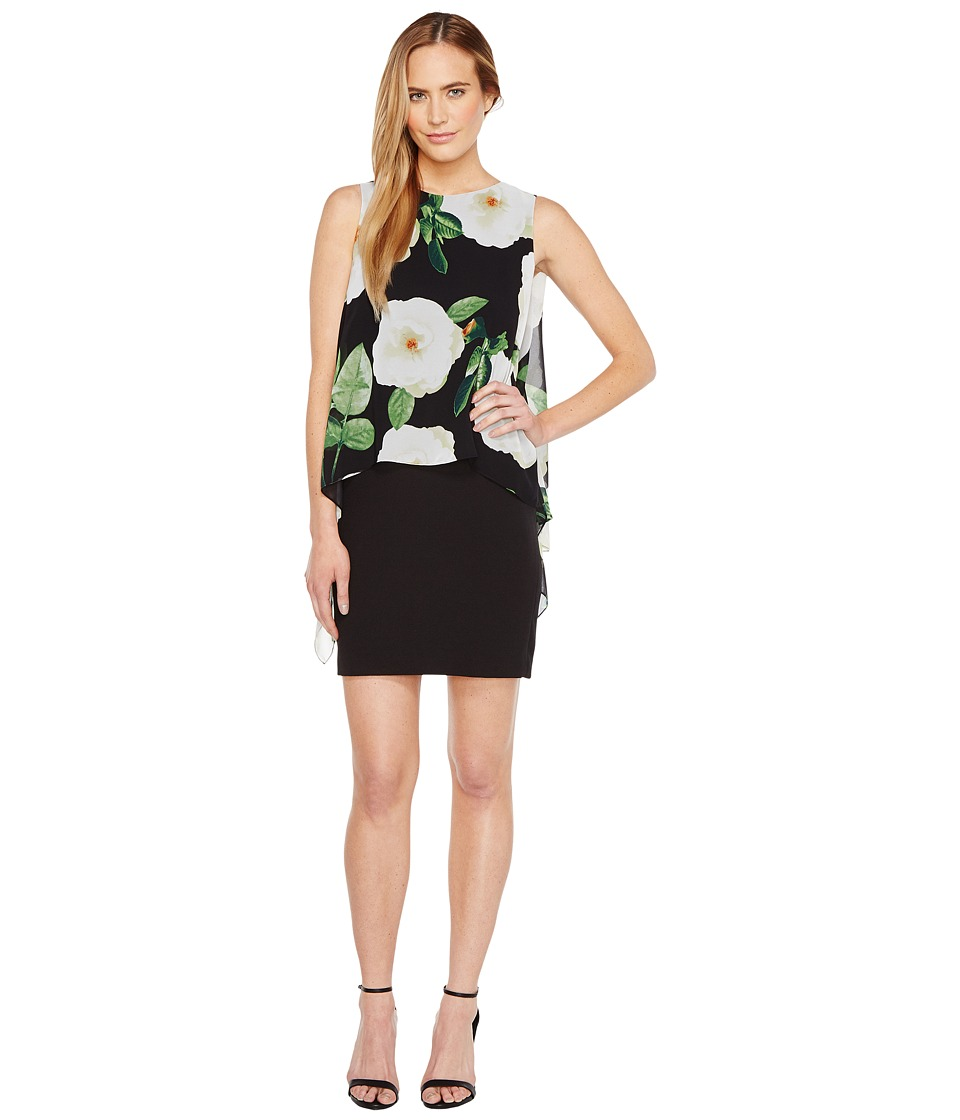 Tahari by ASL - Floral Overlay Sheath Dress (Black/Ivory/Green) Women's Dress