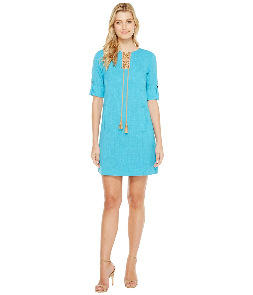Tahari by ASL - Grasscloth Shift Dress (Turquoise) Women's Dress