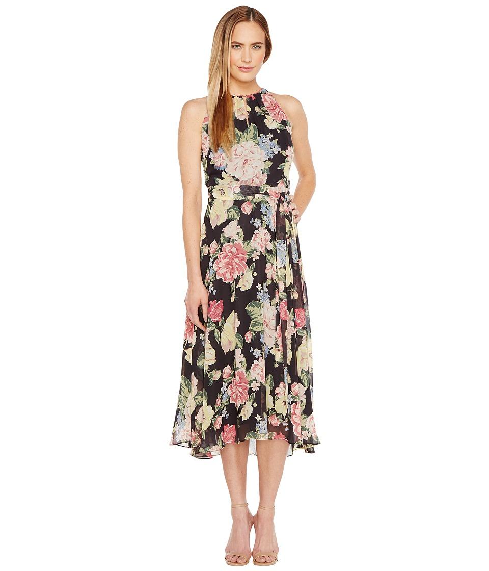 Tahari by ASL Floral Chiffon Midi-Length Dress (Black/Blush/Sage) Women