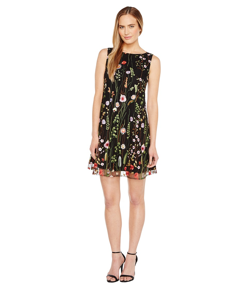 Tahari by ASL - Floral Embroidered Trapeze Dress (Black/Lime/Flame) Women's Dress