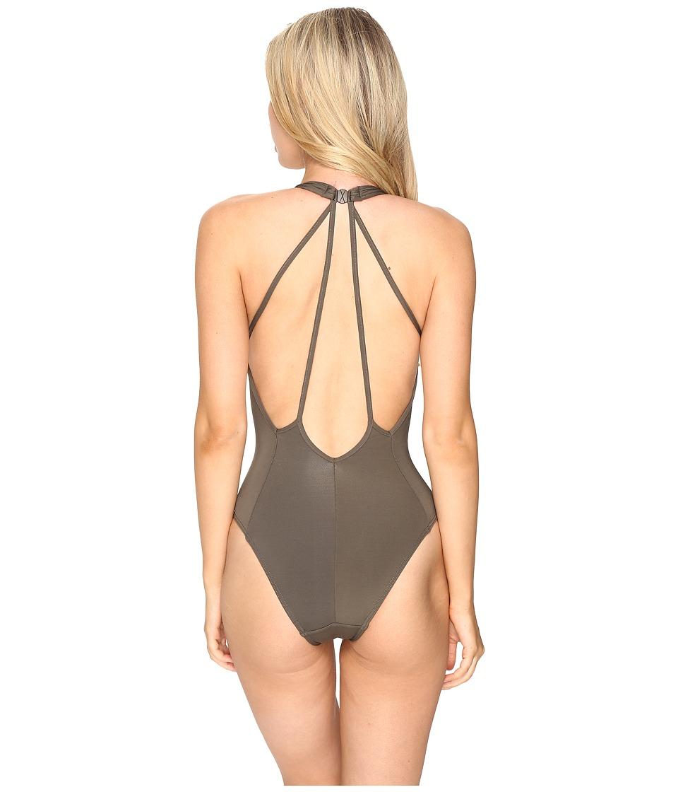 JETS by Jessika Allen - Illuminate Plunge One-Piece (Stone) Women's Swimsuits One Piece