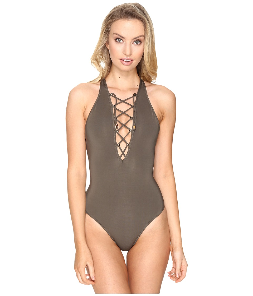 JETS by Jessika Allen High Neck Plunge Lace-Up Front One-Piece (Stone) Women