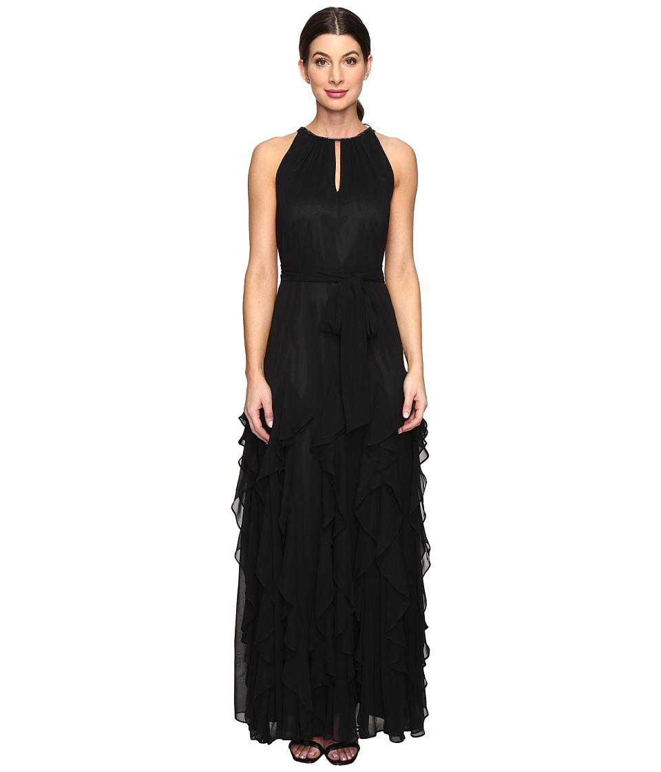 Tahari by ASL - Halterneck Chiffon Gown (Black) Women's Clothing