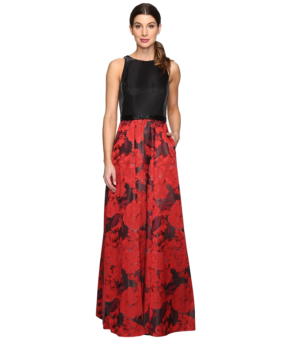 Tahari by ASL - Floral Jacquard Ball Gown (Black/Crimson) Women's Clothing