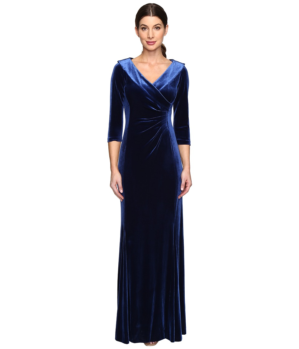 Tahari by ASL - Stretch Velvet Portrait Collar Gown (Midnight Blue) Women's Clothing