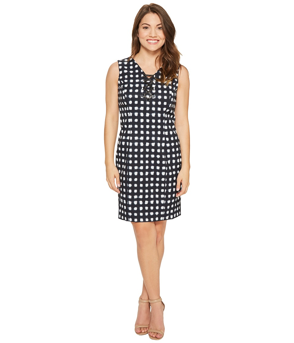 Tahari by ASL Petite - Petite Lace-Up Sheath Dress (Navy/White) Women's Dress