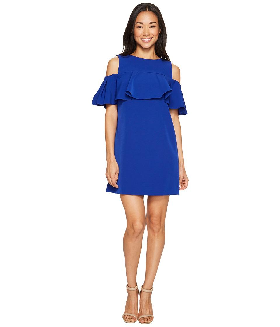 Tahari by ASL Petite Petite Off-Shoulder Flounce Sheath Dress (Brilliant Blue) Women