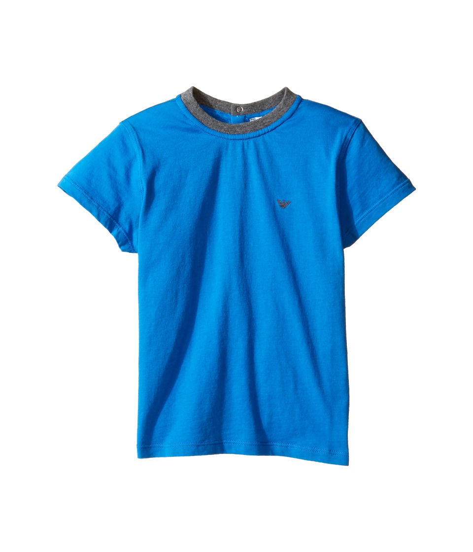Armani Junior - Basic Logo Tee (Infant) (Solid Medium Blue) Boy's T Shirt