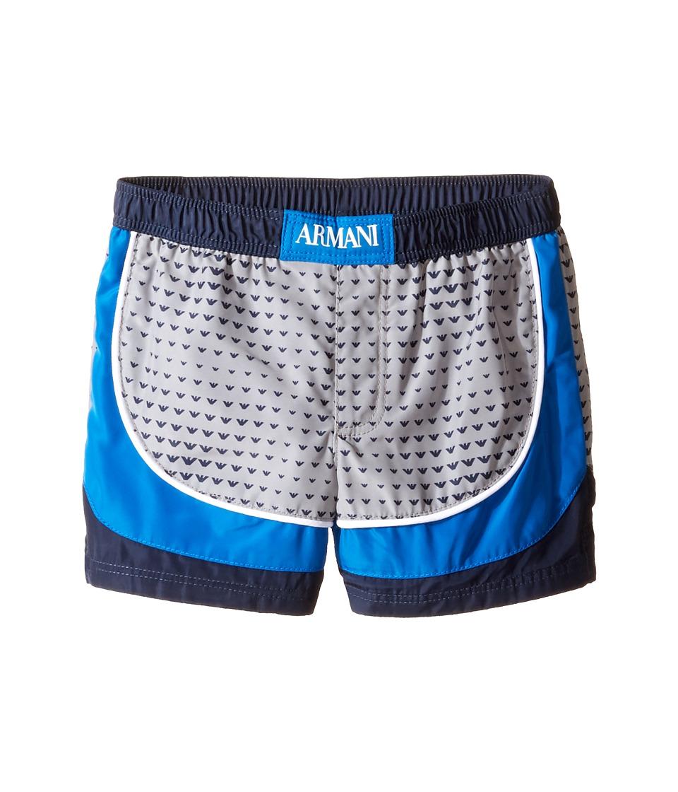 Armani Junior - Logo Printed Swimsuit (Infant) (Fancy Grey) Boy's Swimsuits One Piece