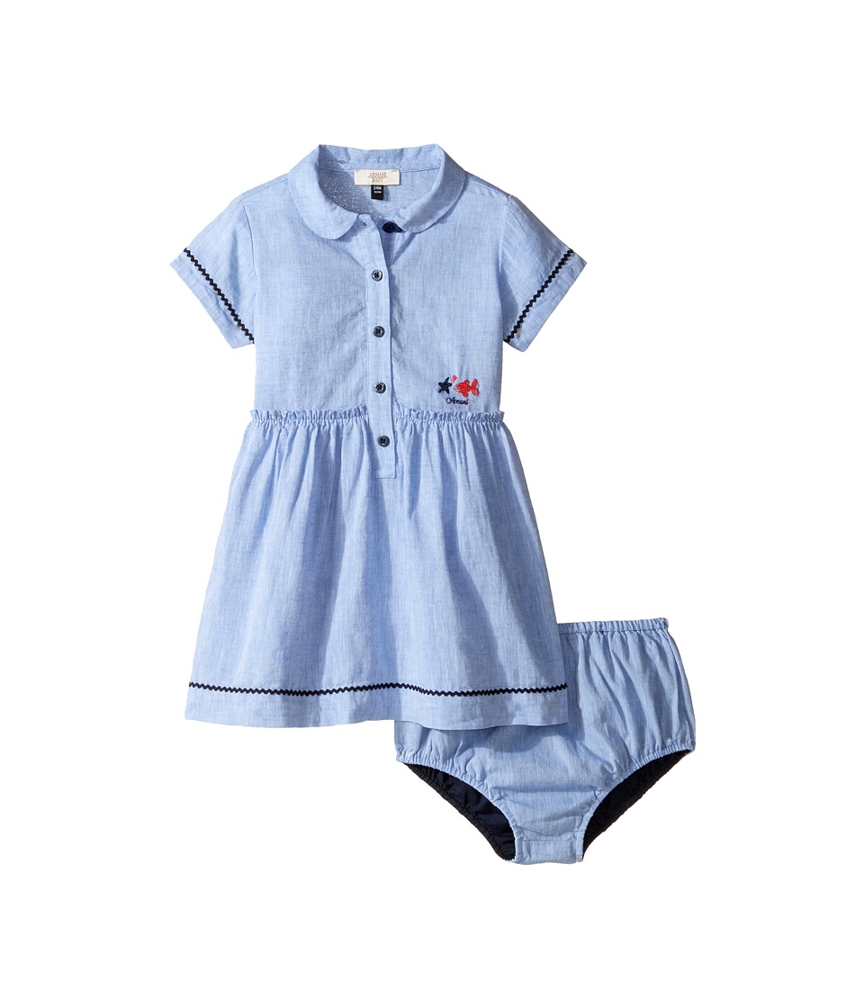 Armani Junior - Linen Dress with Bloomer (Infant) (Solid Bright Blue) Girl's Pajama Sets