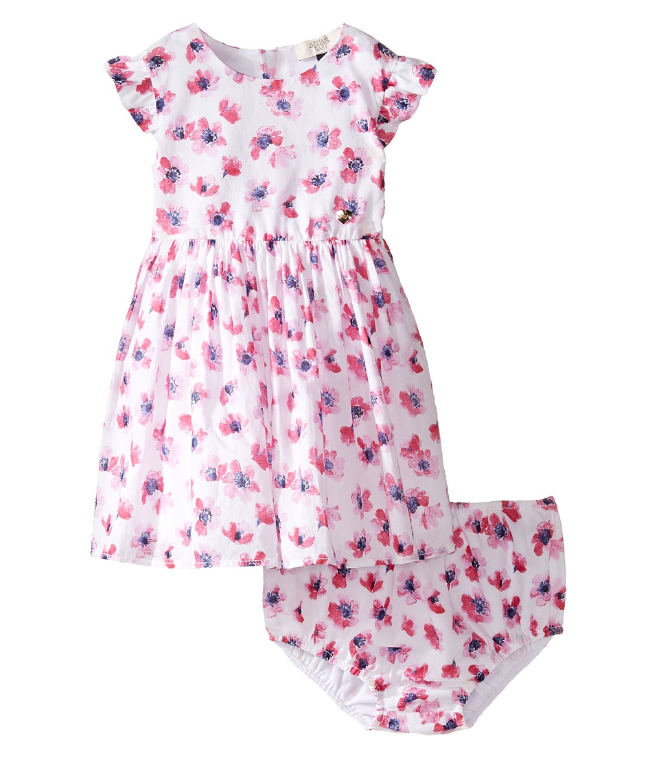 Image of Armani Junior - Floral Printed Cotton with Bloomer (Infant) (Multi) Girl's Dress