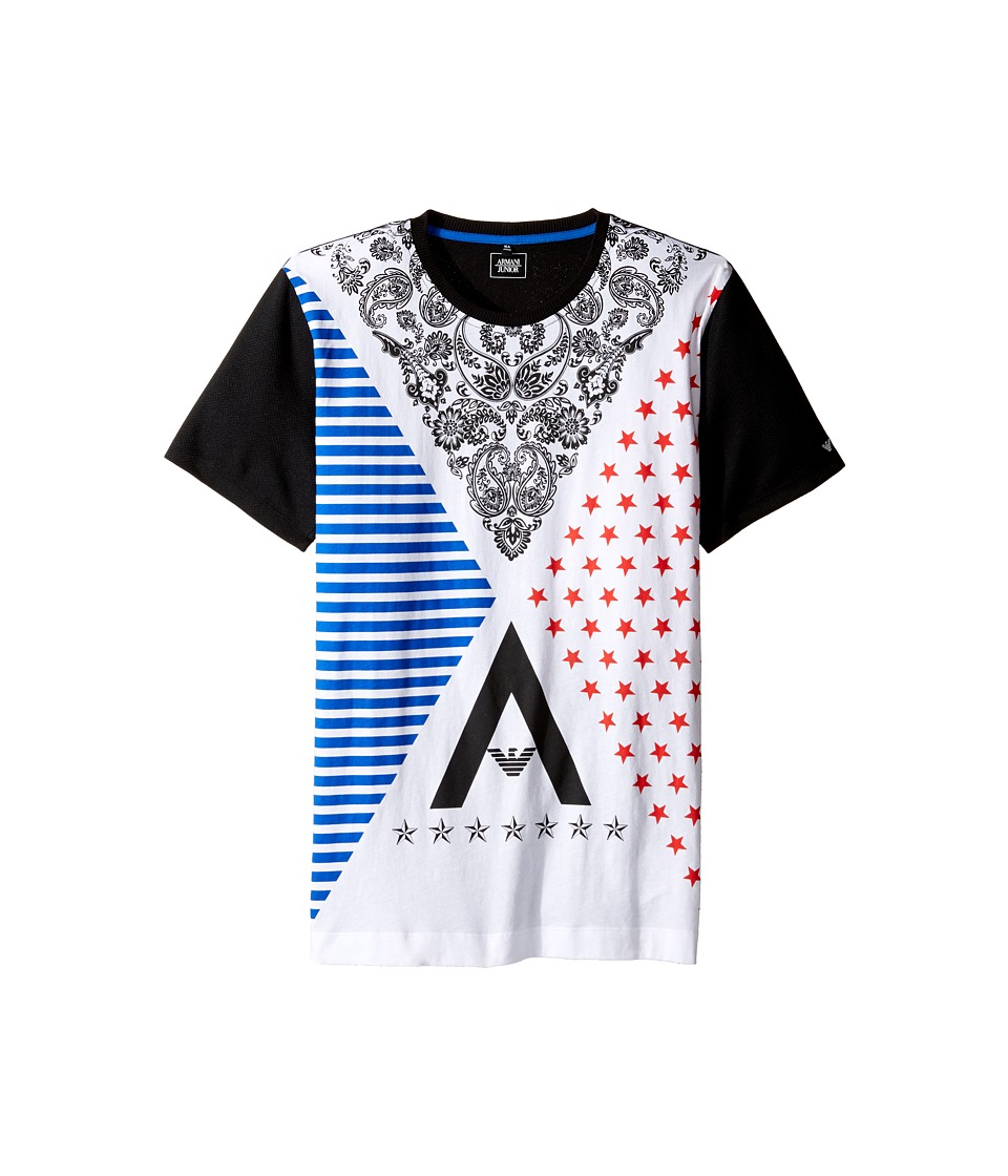 Armani Junior - Funtastic Logo Printed Tee with Mesh Tee (Toddler/Little Kids/Big Kids) (Solid Black) Boy's T Shirt
