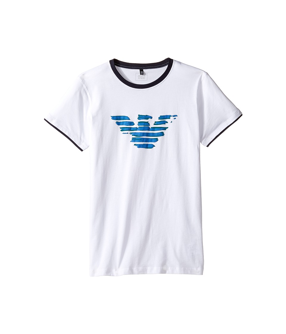 Armani Junior - Entry Logo Tee (Toddler/Little Kids/Big Kids) (Solid White) Boy's T Shirt