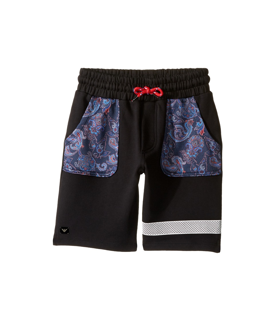 Armani Junior - Funtastic Sweatshorts with Mesh Detail (Big Kids) (Solid Black) Boy's Shorts