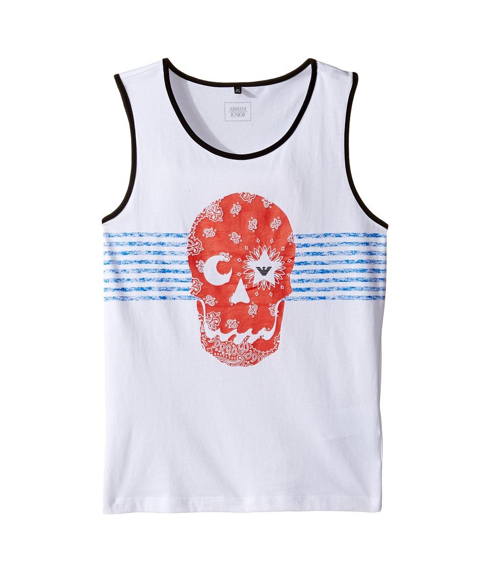 Image of Armani Junior - Funtastic Skull Tank Top (Big Kids) (Solid White) Boy's Sleeveless