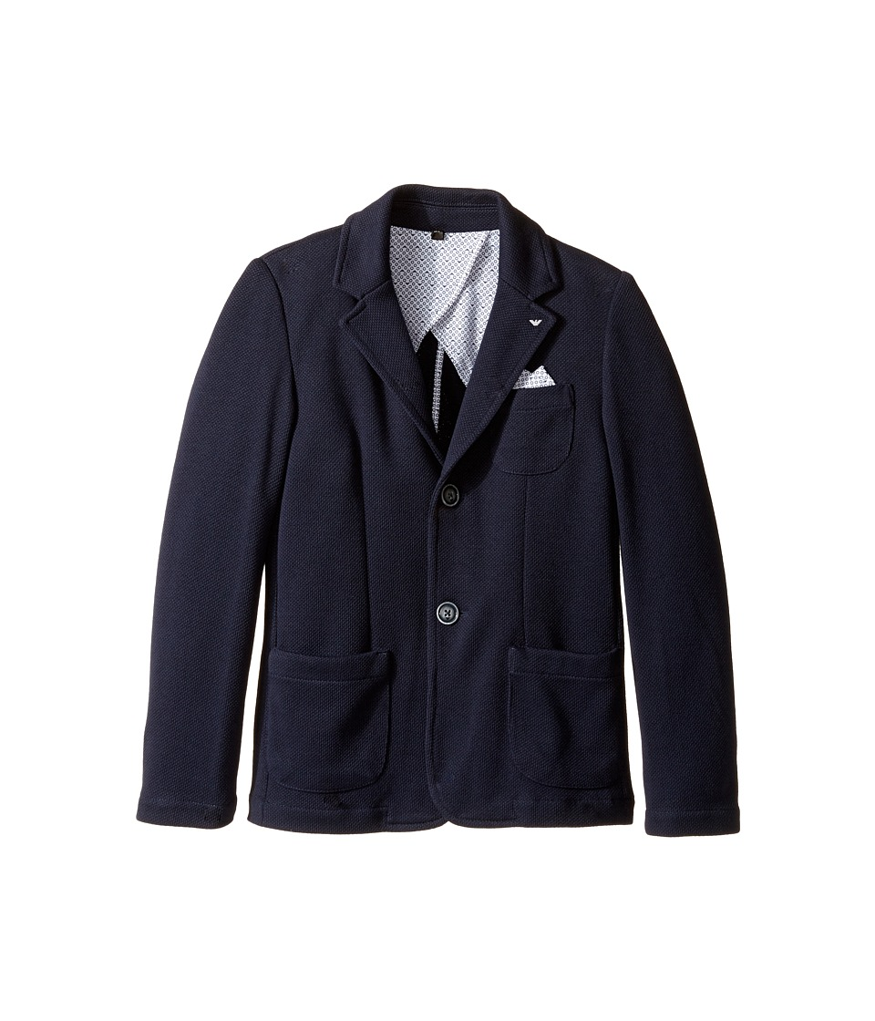 Armani Junior - Pocket Square Blazer (Big Kids) (Solid Medium Blue) Boy's Jacket