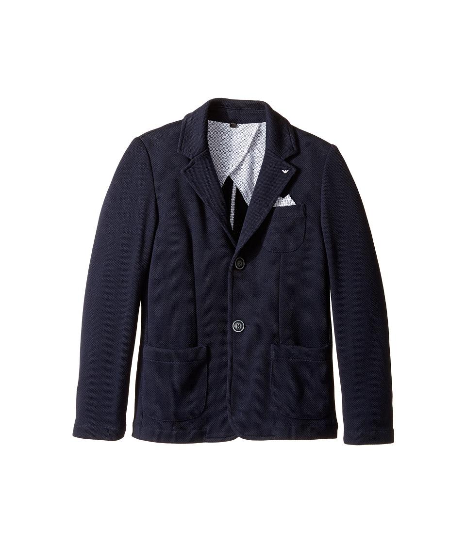 Armani Junior - Pocket Square Blazer (Big Kids) (Solid Medium Blue) Boy's Jacket