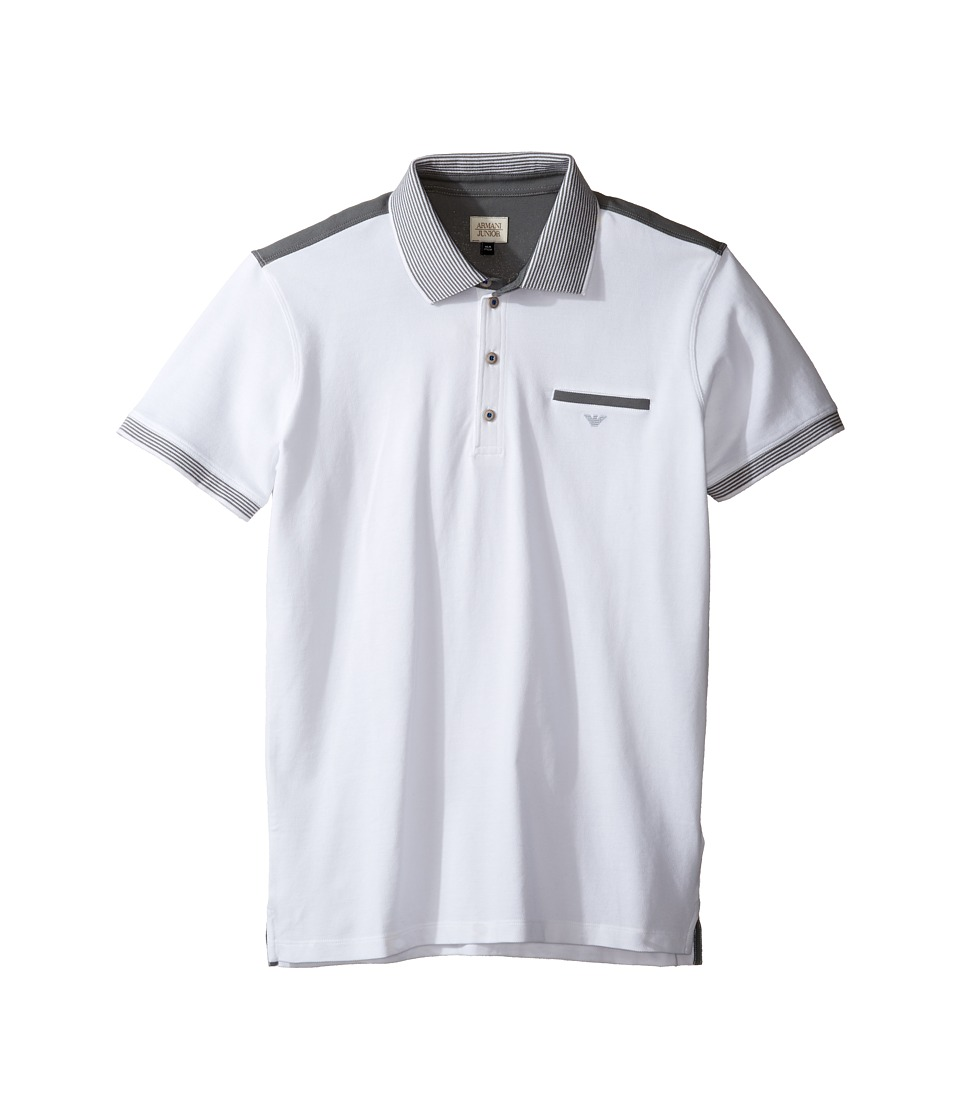 Armani Junior - Polo with Stripe Detailing on Sleeve and Collar (Toddler/Little Kids/Big Kids) (Solid White) Boy's Clothing