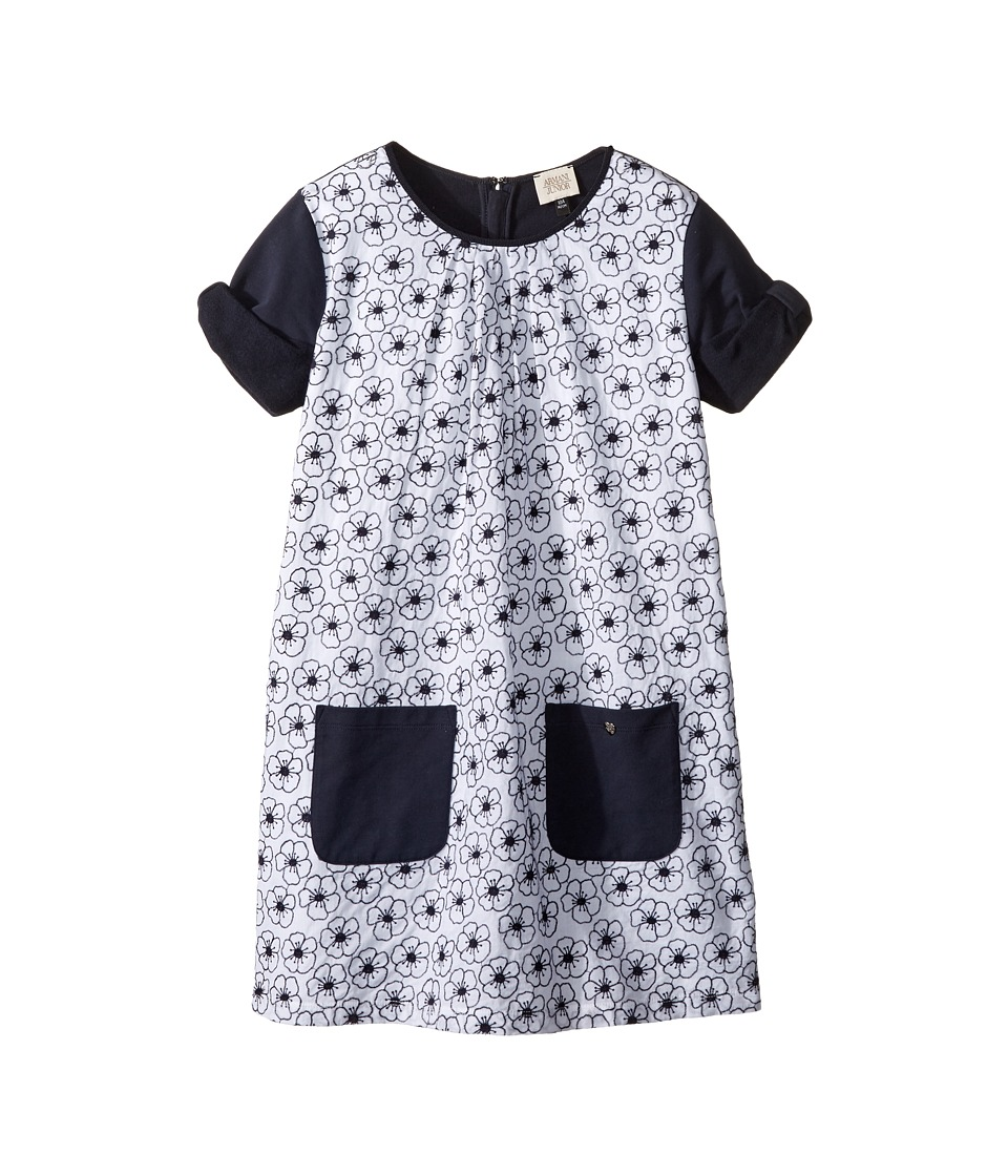 Armani Junior - Eyelet Floral Dress (Toddler/Little Kids/Big Kids) (White/Navy) Girl's Dress