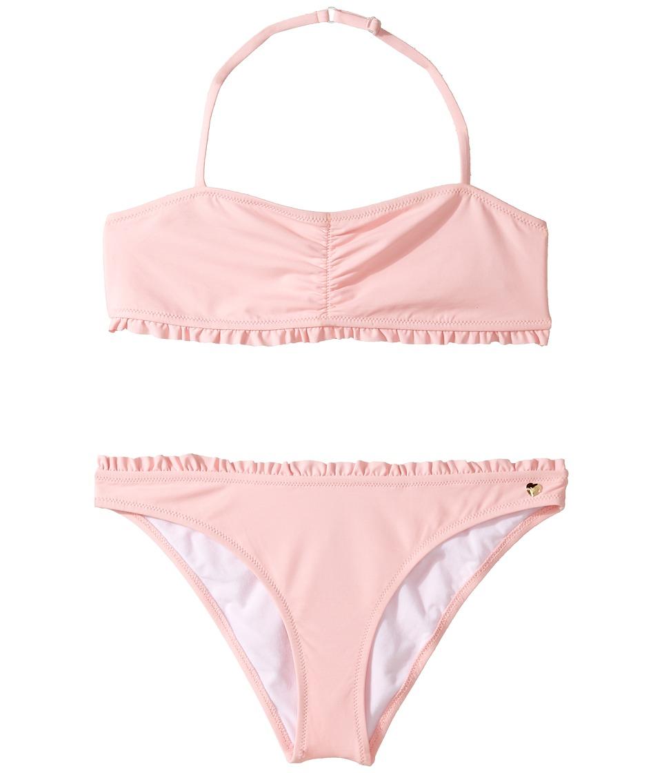 Armani Junior - Ruffle Two-Piece Bathing Suit (Toddler/Little Kids/Big Kids) (Solid Medium Pink) Girl's Swimwear Sets